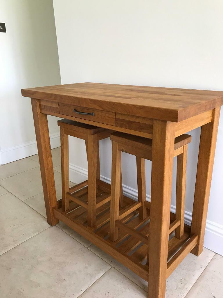 new product 07187 db98c Laura Ashley Solid Oak Brompton breakfast console / bar & 2 Stools | in  Tunbridge Wells, Kent | Gumtree
