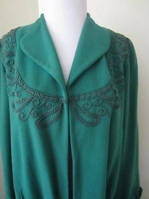 Green Soutache Swing Coat Vintage 1940's Gabardine Wool Lightweight Long M L