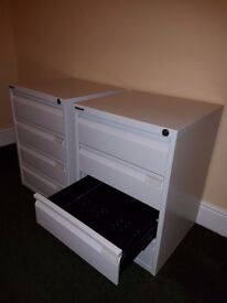Bisley, Media Filing Cabinet, 4 Drawers, Lockable, on Castors, Cream, 2 available