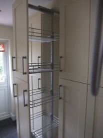 Full height Tall Double Pull-out larder unit five chrome baskets + Soft close - 400 mm