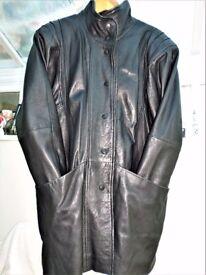 STYLISH - MODERN - QUALITY- LADIE BLACK LEATHER COAT, JACKET- BROOKE & SADDLER- SIZE LARGE -16