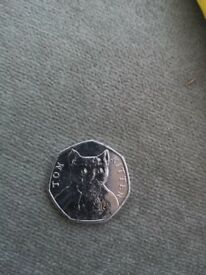 Rare Tom kitten 50p coin
