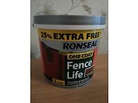 Ronseal One Coat Fence Life Shed & Varnish Treatment 5 Litres. 4 Tubs.