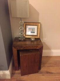 Dark Mango Wood Nest of 2 Coffee Table / Side Table - Cube design - Natural Dark Wood