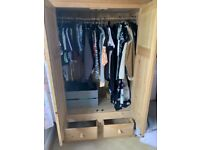 Wardrobe Double Door and Two Drawers Solid Waxed Pine finish