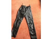 Ladies black leather trousers