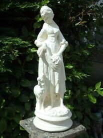 Vintage Classic Female with Sheep Garden Statue 60cm Tall Garden Ornament