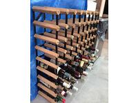 Cranville 72 bottle pine wood and metal wine rack