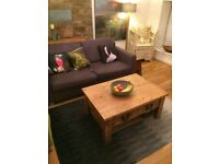 Beautiful Waxed Pine Rustic Plank Solid Wood Coffee Table with Iron Handles