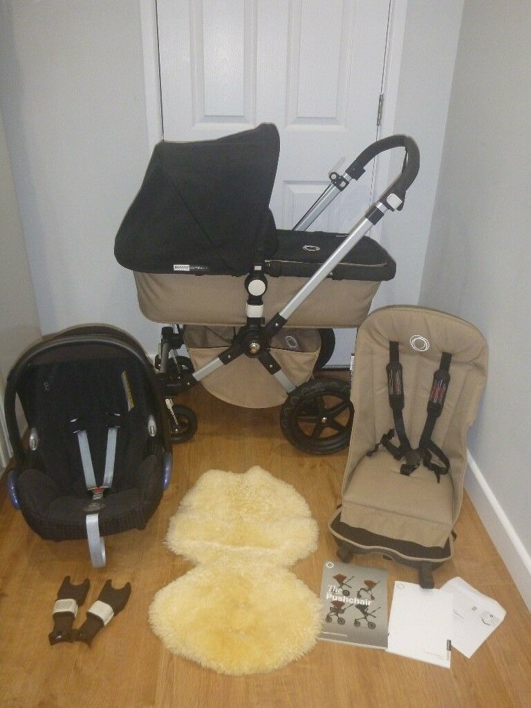 Bugaboo Cameleon Cam 3! Full Travel System! Pushchair, Carrycot & Maxi Cosi Car Seat! Sand & Black!