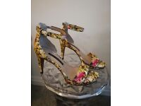 Colourful/Floral French Connection Heeled Sandals, Size 39/6
