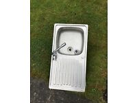 Stainless steel sink and drainboard