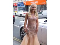 Stunning prom dress size 8 shoes size 5 and bag chocker and braclet