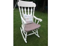 Large shabby chic rocking chair. Painted distressed and waxed. 1.2mtrs high. Can deliver Antrim area