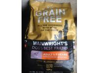 Two 10kg bags of Wainwright's Grain Free Dog Food