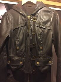 Ladies size 10 real leather jacket brown River Island £5 collection only
