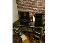 Black glass & chrome PC desk