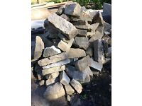 Walling stone, cobbles, stone steps, bricks