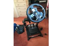 Logitech G920 steering wheel and shifter and pedals GT Omega stand for x box one