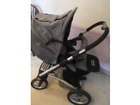 Mutsy pushchair with carrycot and rain cover. Includes adapters for some maxi cosy car seats