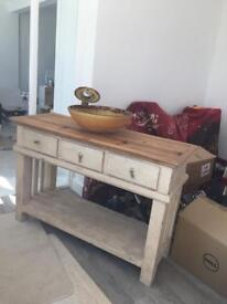 Wood vanity unit with glass sink and matching tap - used
