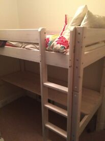 High sleeper bed with built-in desk