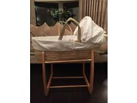 Mamas and Papas Rocking Moses Basket Stand with John Lewis Moses Basket