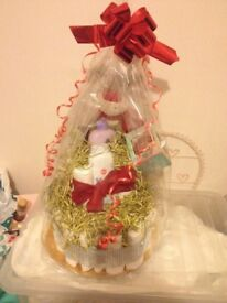 Hand made First xmas nappie cake Hamper Gift