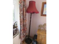 Antique Oak Standard Lamp with a Barley Twist Stem in Good Condition