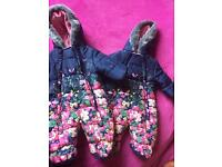 Baby girl floral quilted snowsuits