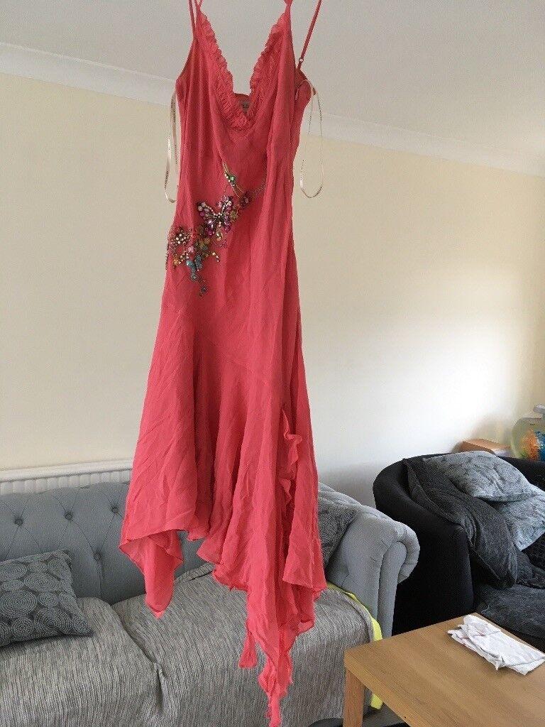 Karen Millen coral embellished silk dress size 8