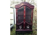 ORIENTAL Mother of Pearl Inlaid Cherry Rose Wood Glass Lit Unit DISPLAY CABINET