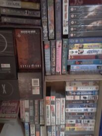 84 VHS videos, comedy, x files, cartoon and other classics