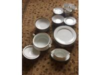 39 piece dining and tea set - green edge and gold trim