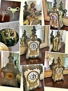 ⭐️1898, F. Kroeber Clock Co.antique French-style mantel clock⭐️