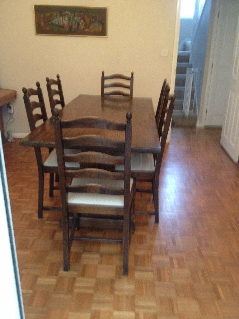 Solid Dark Oak Dining Table, Chairs & Dresser