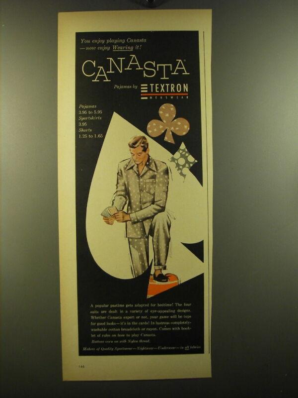 1950 Textron Canasta Pajamas Ad - You enjoy playing Canasta - now enjoy wearing