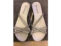 Diamanté silver sandals
