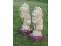 Vintage Pair of Large Lions Garden Statues Lion Garden Ornaments Gate Post Lions