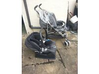 Mama & Papa push chair with rain cover and Car seat combo include base for quick release from car