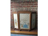 Original 1930's triple fold oak embroidered fire screen