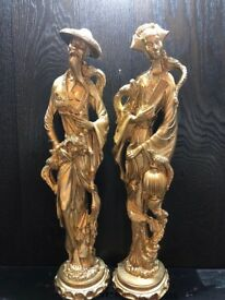Chinese Couple Figurines In Gold Effect.18.5 Inches, 3.9kg Total Weight