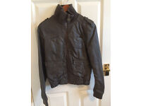 Leather jackect rey, size M woman