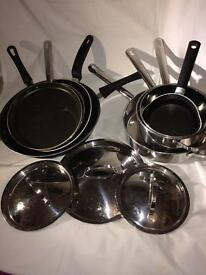 A set of frying pans.