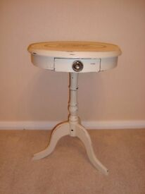 Shabby Chic Drum or Side Table painted in Annie Sloan 'Old Ochre'