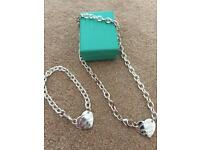Tiffany style real silver Necklace + Bracelet NEW