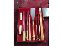 10 piece BBQ tool set oak handles and stainless steel