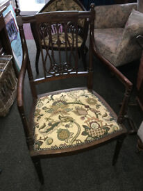 Pretty Antique Victorian Ornately Carved Mahogany Carver Chair/Side Chair/Hall Chair/Bedroom Chair