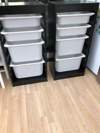 Ikea Trofast storage unit / drawers, with white inserts