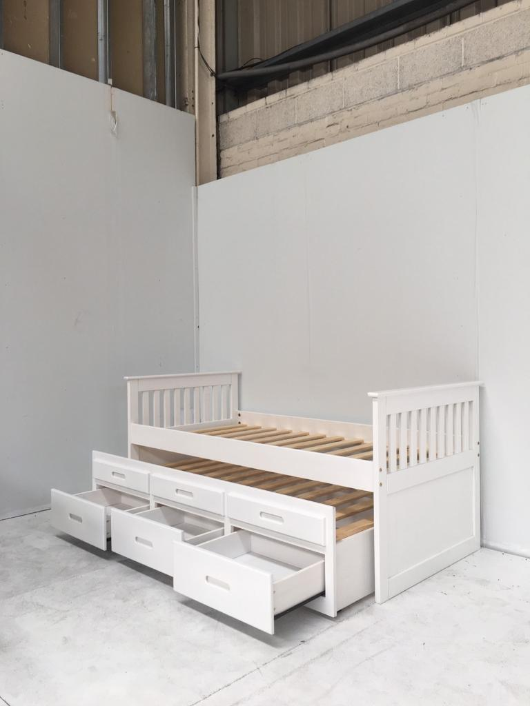 3FT Single Captains Bed with Guest Bed in White